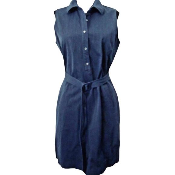 J. McLaughlin Sleeveless Shirt Dress, Blue Stretch